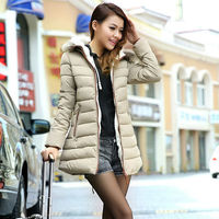 Roupas Femininas Coat Jackets Women Winter Down Long Style with Zipper Casual Hoodies Solid Color Faux Fur Hat Warm 2015 NZH035