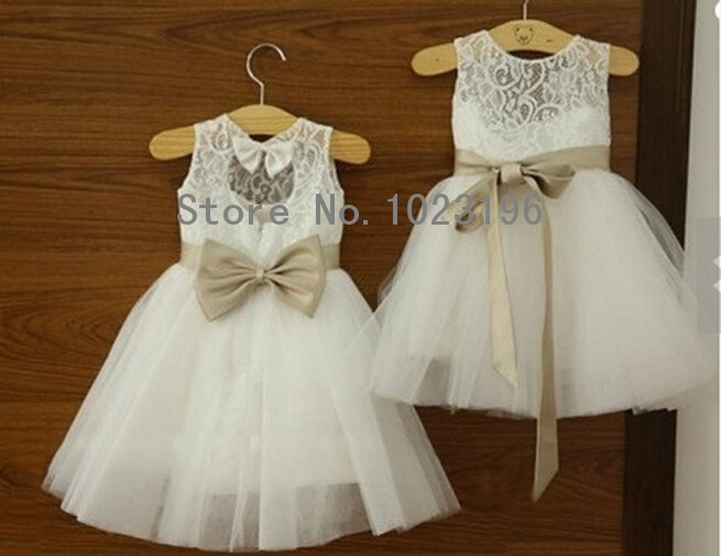 Popular White and Gold Flower Girl Dress-Buy Cheap White and Gold ...