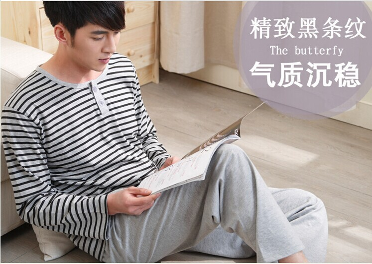 Pyjamas Men Limited Freeshipping Patchwork Casual Cotton Full Clothes Pijama Masculino The New 2015 Long-sleeved Pajamas For Men(China (Mainland))
