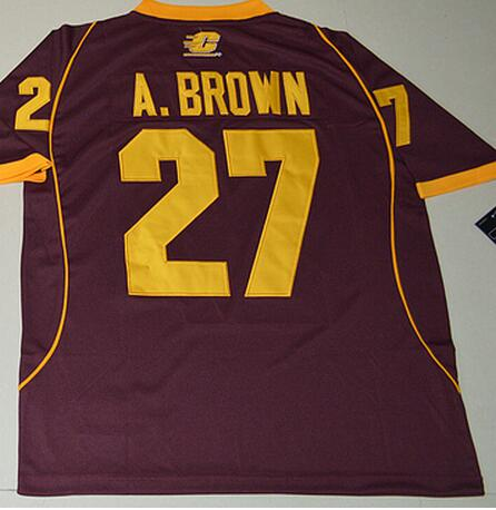 Nike Central Michigan Chippewas Antonio Brown 27 College Football Jersey - Maroon Size S,M,L,XL,2XL,3XL(China (Mainland))
