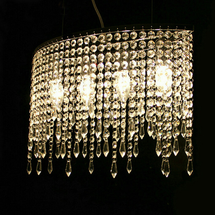 Modern Crystal Curtain Chandelier with 4 LED Bulb Lights<br><br>Aliexpress