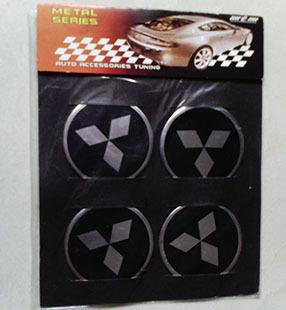 Mitsubishi wheel standard affixed to hub labeling,center of wheel cover stickers,mitsubishi badge free shipping(China (Mainland))