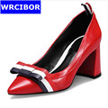 HOT 2017 Women s shoes Genuine leather Stiletto Pointed Toe High Heels Work shoes Woman Bowknot