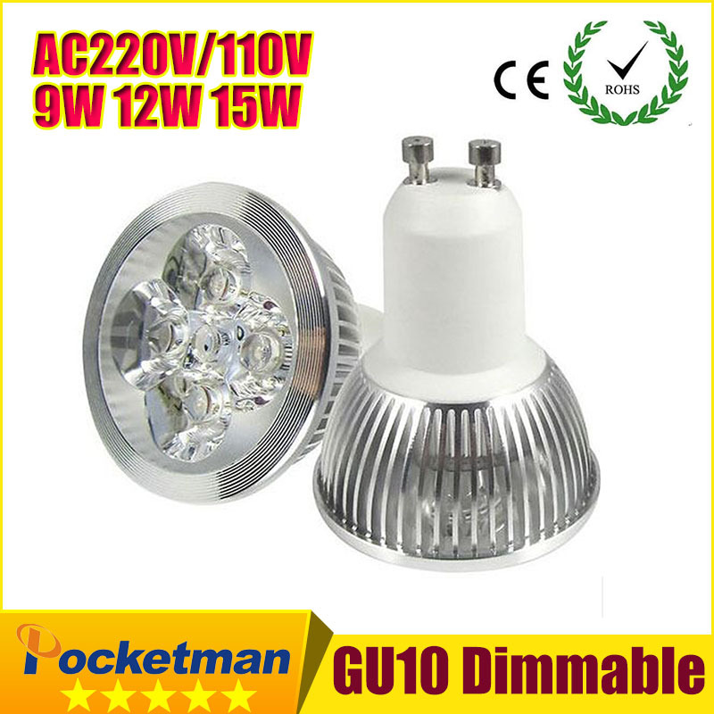 1PCS Ultra Bright dimmable 9w 12W 15w GU10 LED Bulbs Spotlight High Power gu 10 led Lamp Day White LED SPOT Light Free Shipping(China (Mainland))