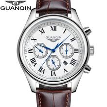 Original GUANQIN Men's Quartz Watches Men Top Brand Luxury Wristwatches Waterproof Classic Leather Strap Watch Hours Clock Male