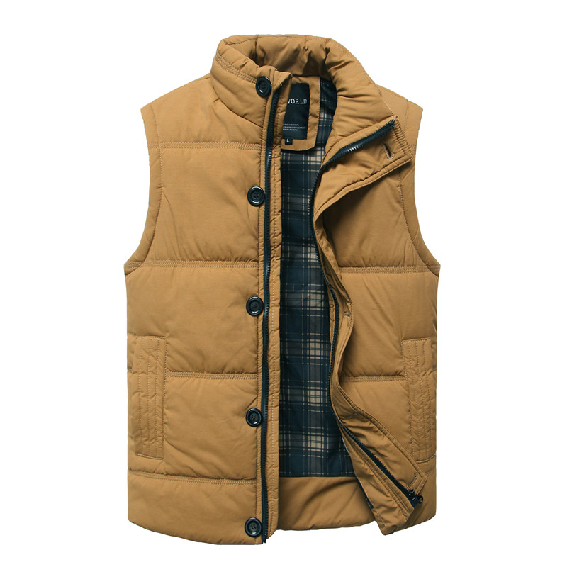 2016Autumn Winter Fashion Casual Tank Top Men Stand Collar Cotton-padded Thickening Slim Fitness Sleeveless Men's Vest Waistcoat(China (Mainland))