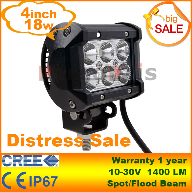 "4"" inch 18W Cree LED Work Light Lamp for Motorcycle Tractor Boat Off Road 4WD 4x4 Truck SUV ATV Spot Flood 12v 24v(China (Mainland))"