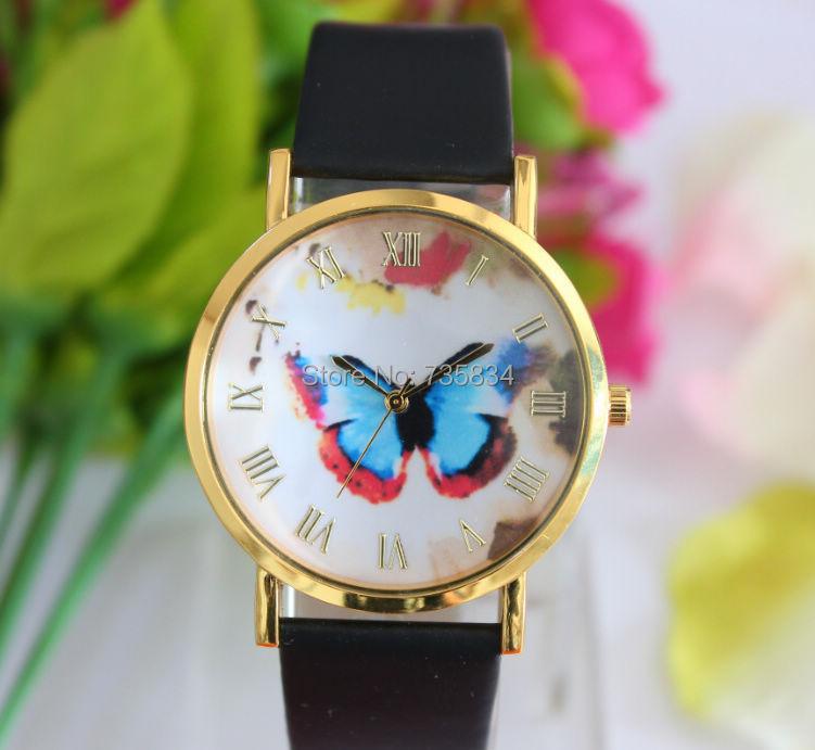Wholesale 50pcs/lot Mix 4Colors Quartz  watch Fashion Leather Butterfly Flower watch JW013<br><br>Aliexpress