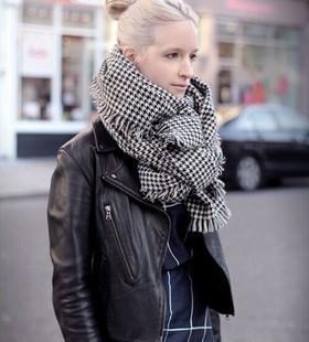 Вентилятор Bingbing же пункте плоувер густой черный и белый плед кашемировые шали шарфов женщин