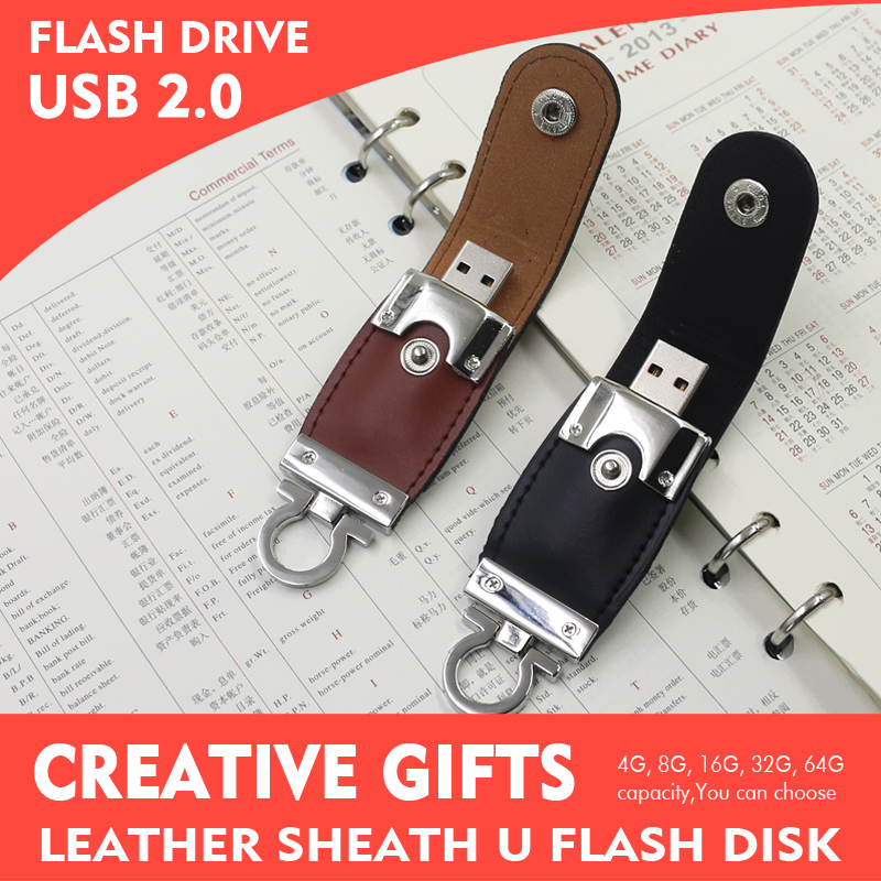 2016 New High quality 4GB 8GB 16GB 32GB Leather USB Flash Drive real capacity Pendrive Flash Drive Card Memory Stick Drive(China (Mainland))