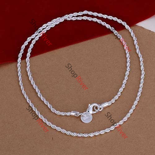 ShopNow 16 18 20 22 24 4MM Fashion Lovely Flash Silver Plated Wrest Rope Chain Necklace N067(China (Mainland))