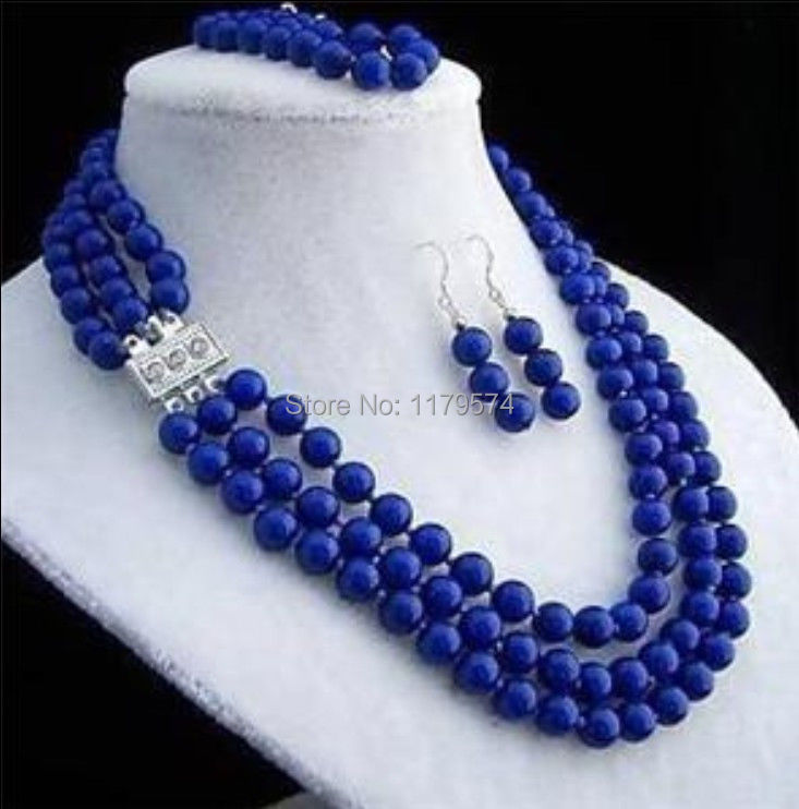 Hot 8mm 3rows Lapis jewelry fashion shopping girl Lazuli necklace bracelet earring sets AAA free shipping ZH0250(China (Mainland))