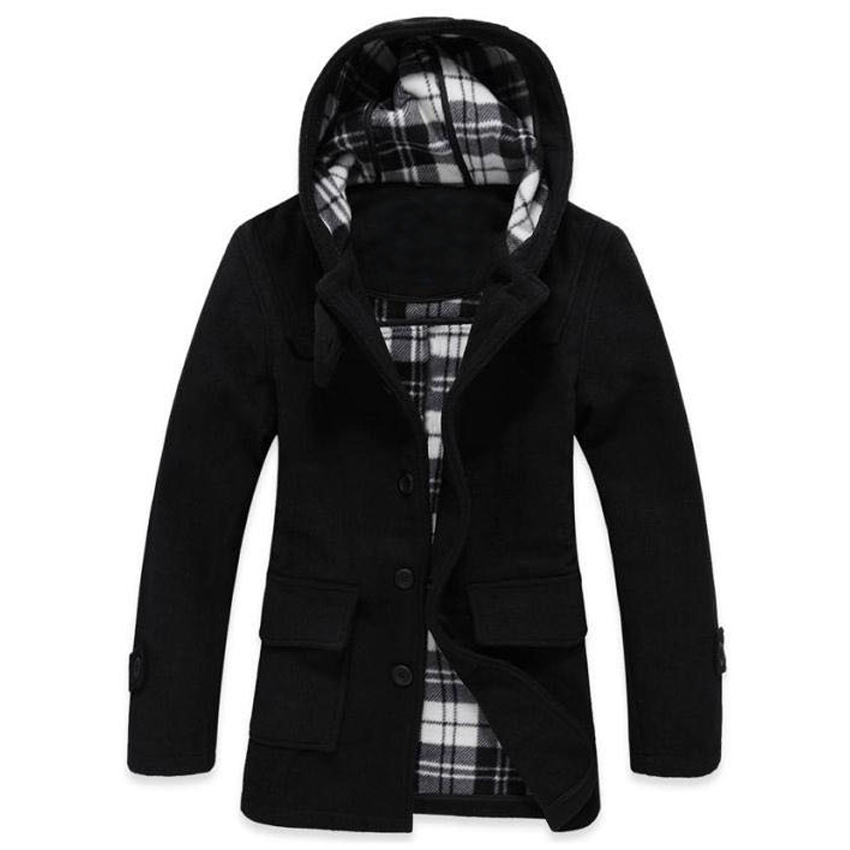 Free shipping Autumn and winter men's hooded jacket cloth coat man woolen cloth trench coat 75cy(China (Mainland))