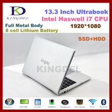 Intel i7 4th Generation Haswell CPU, Kingdel Brand Ultrabook, 13.3″ Powerful Laptop Computer, 8GB+128GB SSD, 1920*1080 HDMI