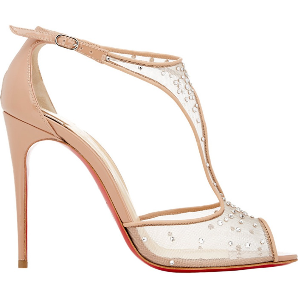 2 Colors Elegant Women Sandals Stylish Red Bottom Thin Heels Plus US Size 4-15 Sandals White Beige Customizable Shoes Woman<br><br>Aliexpress
