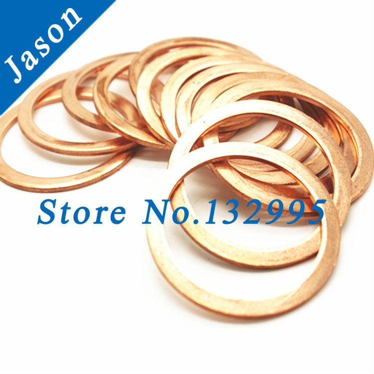 M12 (12mm*24mm*1.2mm)  Copper Flat Washer, Seal washer, Brass washers, Copper Washer M12<br><br>Aliexpress