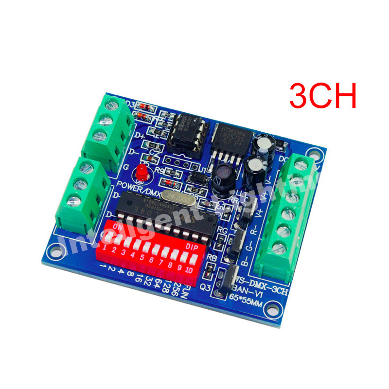 3CH Easy dmx Controller, RGB LED dmx512 dimmer, LED DMX512 decoder for led strip, 5A for each color(China (Mainland))