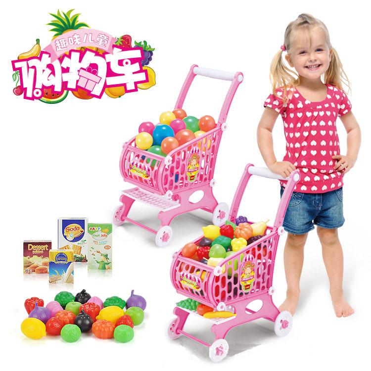 Children Play House Toys Supermarket Shopping Cart Fruit And Vegetable Shopping Cart Children Toys(China (Mainland))