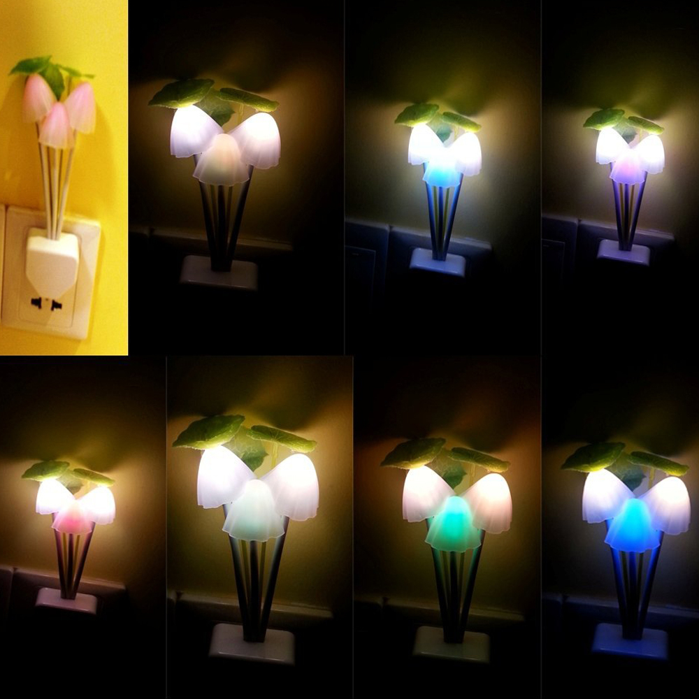 Romantic colorful sensor led mushroom night light lamp for Lights for home decor