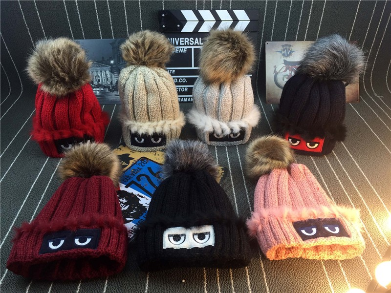 Knitted hat women outdoor cap thick wool hat fur ball warm Beanies