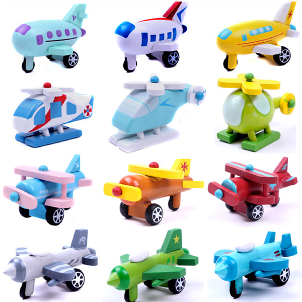 x002 12pcs mini wooden airplane models kit airplane classic wooden model baby learning plan education toys for younger kids ho(China (Mainland))