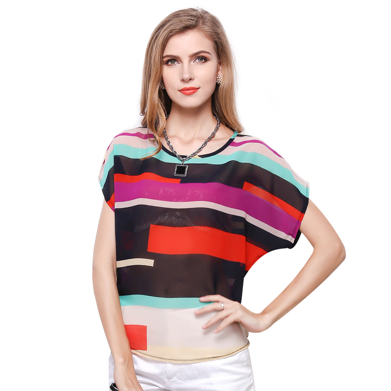 Low price sale Fashion summer women shirts short sleeve O-neck sheer chiffon blouse girls geometric print tops free shipping(China (Mainland))