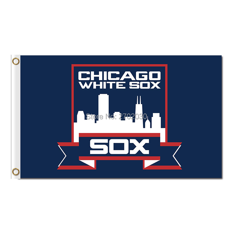 Chicago White Sox Flag Fans Baseball Team Banners Major League Baseball Flags Banner 3x5 Ft Sox Blue Red City(China (Mainland))