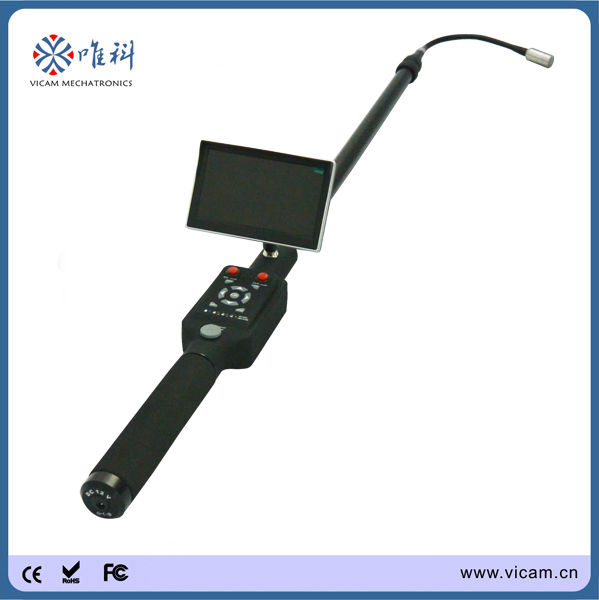 5m Length adjustable telescopic pole video under vechile ,roof, ceiling inspection camera with IR led light(China (Mainland))