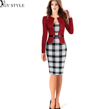 2016 Rushed Plus Size Vestido Fashion Style Faux Sexy Women Dress Elegant Plaid Long Sleeve Pencil Dresses Office Wear Outfits