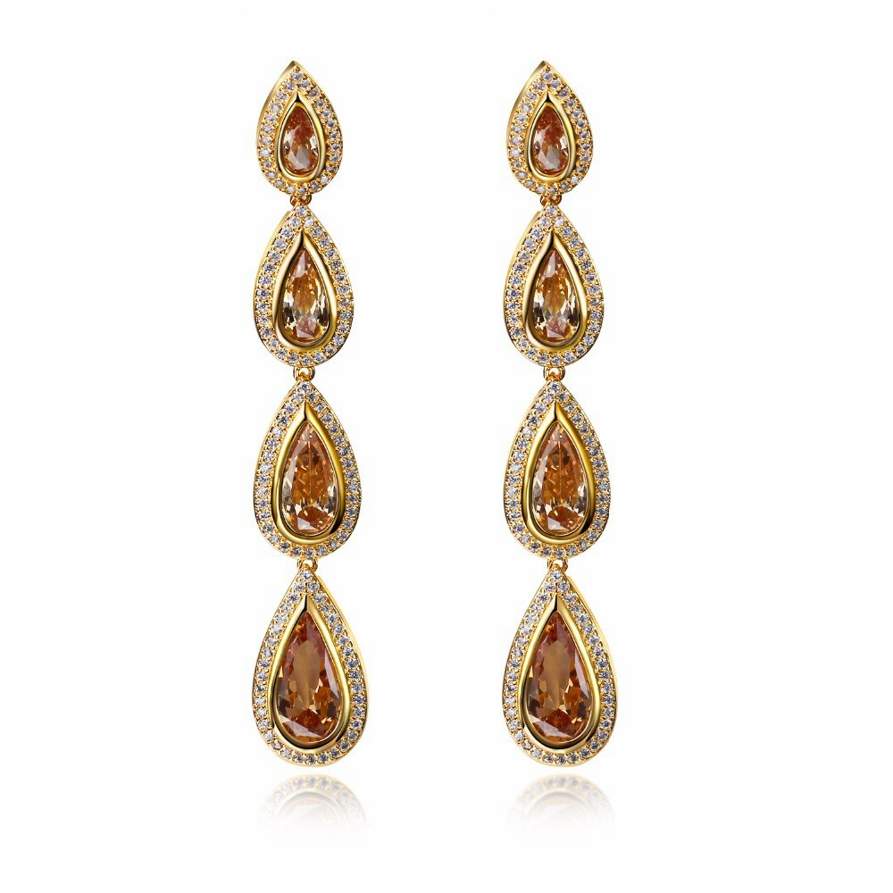 Free shipping New arrival Special occasion Noble styles jewelry 18k Gold Plated Bridal earrings crystal water drop(China (Mainland))
