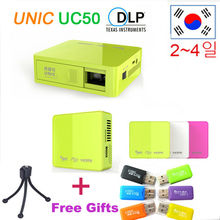 Original UNIC UC50 Handheld Micro DLP LED Home Theater Projector 800lumens Mini Projector Battery Build-in with USB SD AV HDMI(China (Mainland))