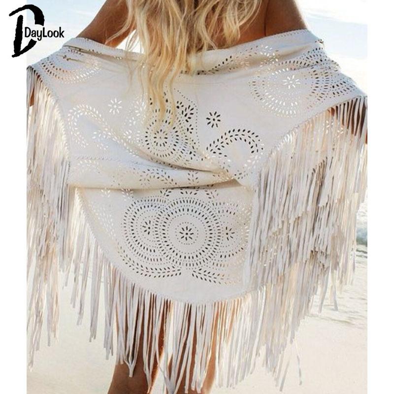 DayLook 2015 summer new fashion design Shawl Beige Cream Floral Cut Out Asymmetric Fringe Tasseled Kimono swimming cover(China (Mainland))