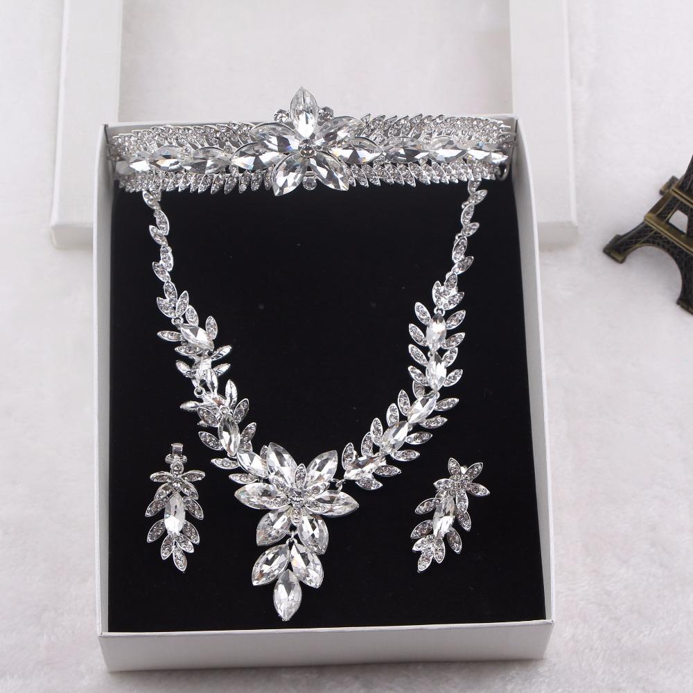 Alloy Silver Plated Rhinestone Necklace, Earrings tiara Bridal Wedding Jewelry Set<br><br>Aliexpress