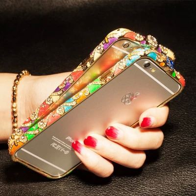 New Vintage Luxury China Ceramic Rhinestone Bling Diamond Aluminum metal bumper Frame for Apple iPhone 6 5 5S Capa Carcasa Funda(China (Mainland))