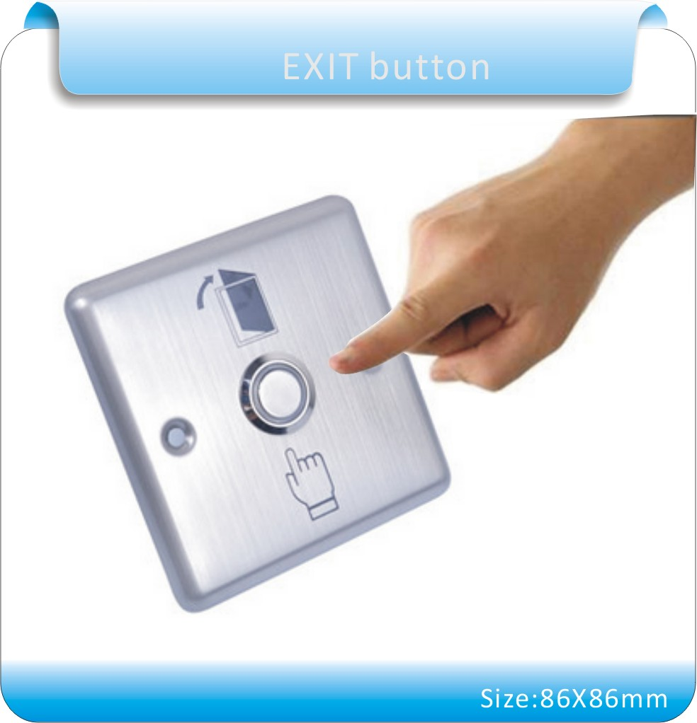 Free shipping 86X86mm Stainless steel For Access Control System  Door Release Exit Button(NO)  without  LED Indication