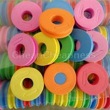 Newest Multi-Color Fishing String Bobbin Round Shaped Foam Hook Line Storage Spools Tool Kits 5Pcs(China (Mainland))