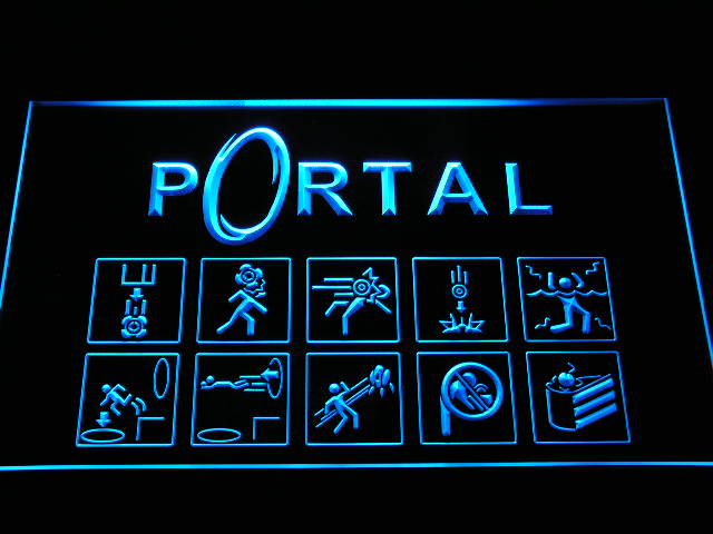 e068 Portal Game Logo LED Neon Sign with On/Off Switch 7 Colors to choose(China (Mainland))