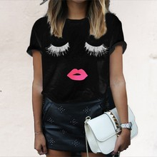 Zanzea New Arrival 2016 Summer Style Women Elegant Lashes Lip Print T Shirt Casual Loose Simple O Neck White Top Tees Blusas(China (Mainland))