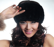 Women Genuine Real Rex Rabbit Fur Headwear Spring-Winter Real Rex Rabbit Fur Headband for Lady WH6865(China (Mainland))