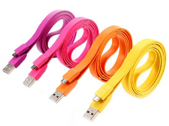 CN 20pcs/lot 2M long Flat Noodle Micro 5 pin USB Data charging Sync cable for Samsung Nokia HTC(China (Mainland))