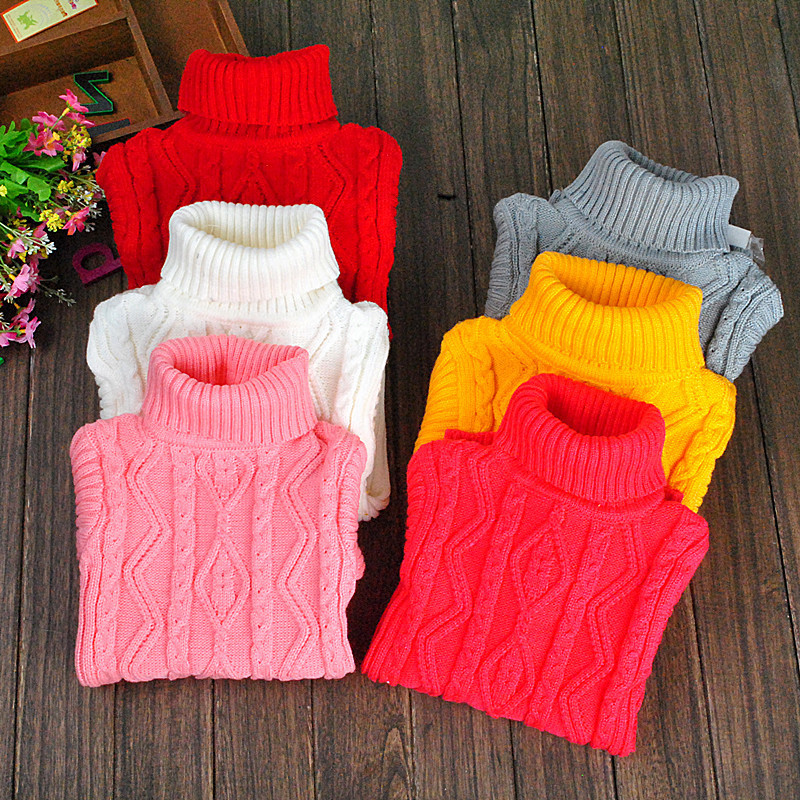 2015 Hot Sale 2-15Year Infant Baby Boys Girls Childrens Kids Knitted Winter Autumn Pullovers Turtleneck Warm Outerwear Sweaters(China (Mainland))