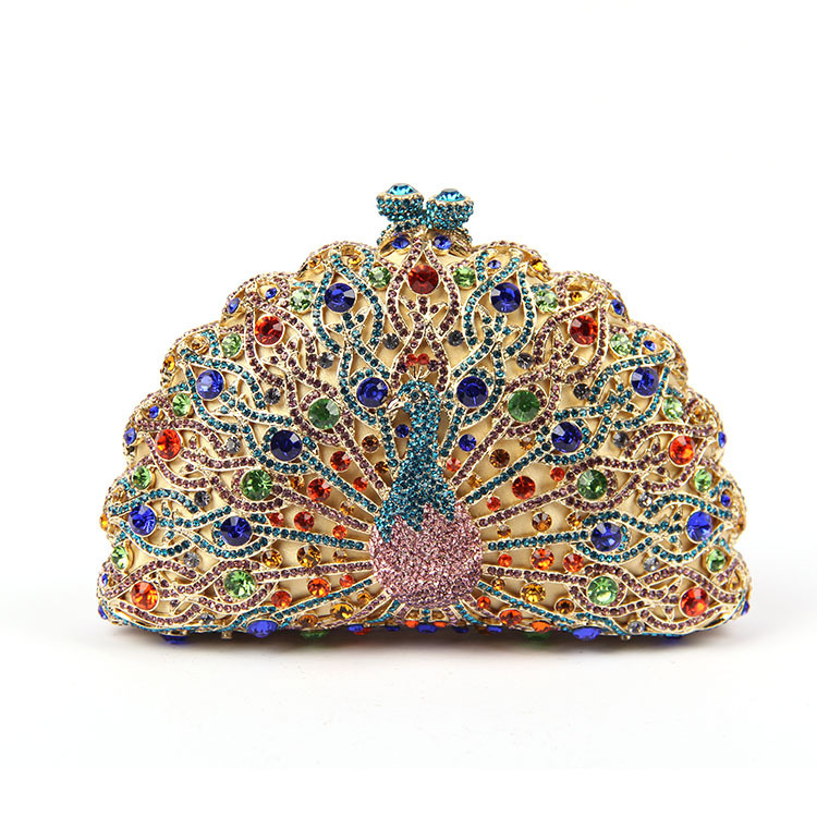 New arrivels Limited release high quality women stunner handbags peacock novelty colorful diamonds crystal 6colors club Handbags(China (Mainland))