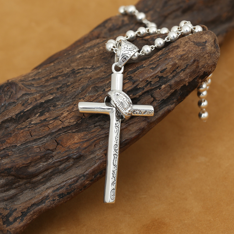 Handmade 925 Silver Cross Pendant Carved Vintage Sterling Silver Cross Pendant Cross Jewelry Man Pendant(China (Mainland))