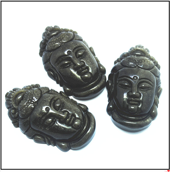 1pcs nature black obsidian stone pendant buddha shapes pendant fashion jewelry pendants for religious items prey jewelry(China (Mainland))