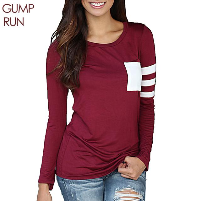 GUMPRUN плюс размер 3XL футболки женские топы Длинный рукав футболка женская топ футболка Мода досуг футболка полоску Сращивания bts женские футболки рубашки женские