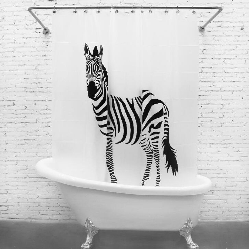NYYBXFKDD High Quality EVA Material Shower Curtain Waterproof Mildew Shower  Curtain Home Large Zebra Decorative Bathroom Product