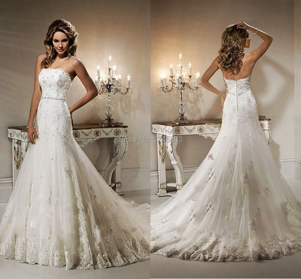 Elegant Mermaid Bridal Gowns Beaded Strapless Appliqued Lace Wedding dresses 2015 - Dream blue wedding store