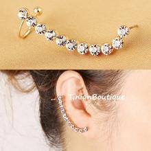 Pendientes 2015 New Fashion Ear Cuff Gold Personality Shiny Rhinestone Punk Clip Earrings For Women Brincos Free Shipping(China (Mainland))