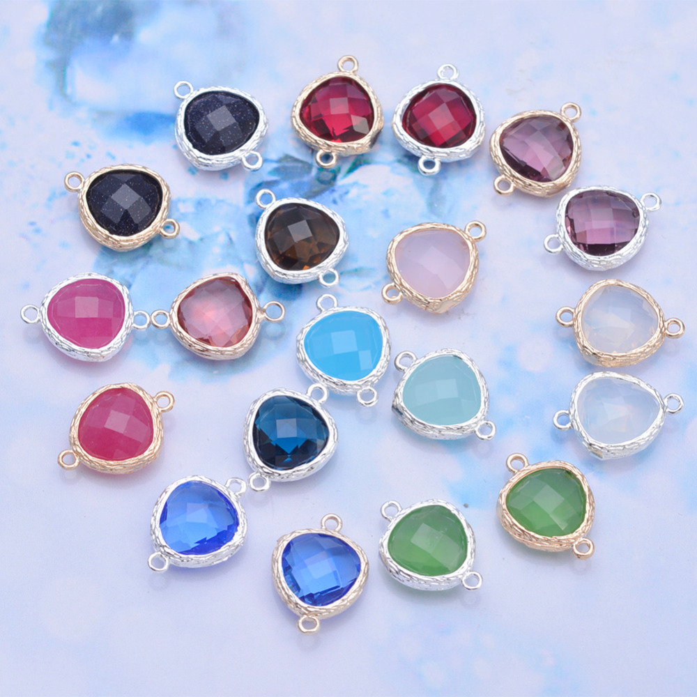 Wholesale Mix Heart Glass Charms For Christmas Decoration Pendant Glass Bezel Facted Imatition Zirconia Pendant Connector 50pcs<br><br>Aliexpress