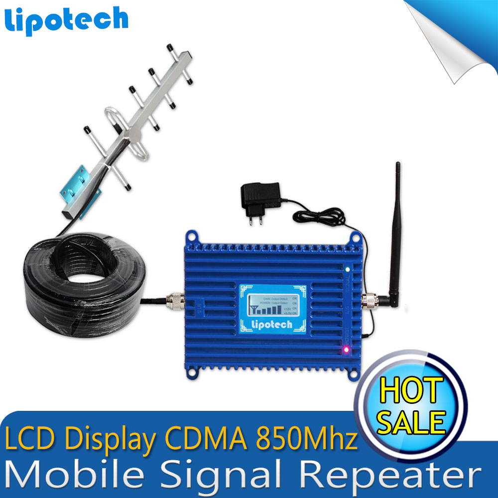 LCD Display!! 5 Unit Yagi Antenna GSM 850mhz Mobile Cell phone Signal Repeater Booster CDMA 2g/3g Signal Repeater Amplifier(China (Mainland))